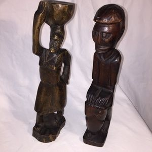 Vintage African Wood Sculptures Couple